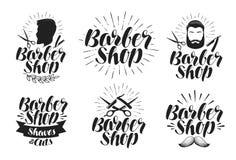 Friseursalon, Kennsatzfamilie Rasur, Haarschnitt, Schönheitssalonlogo Beschriftung, Vektorillustration Stockfotos