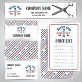 Friseursalonfriseursalonweinlesevisitenkarten und -preise entwerfen Schablonensatz lizenzfreies stockbild
