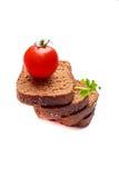Frish-Brot mit cerry Tomaten stockfotografie