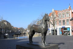 Frisian horse statue, Leeuwarden, Holland. The historical town of Leeuwarden is located in the north of Holland, in the province of Friesland. In the south of Stock Photography
