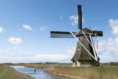 Frisian polder with mill. Royalty Free Stock Image
