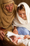 Frist christmas family Royalty Free Stock Images