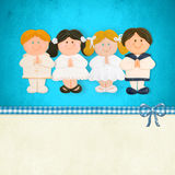 Frist Communion card, children praying Royalty Free Stock Photography