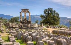 Fristad av Athena Pronaia, Delphi, Grekland Royaltyfri Bild