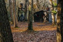 Fristaden av skogen, en kabin i träna royaltyfria foton