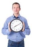 Fristenkonzept - Mitte alterte Geschäftsmann mit Bürouhr-ISO Lizenzfreies Stockfoto