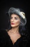 Frisur und bilden - schönes Kunstporträt der jungen Frau Netter Brunette mit weißer Schleier- und Blumenanordnung, Atelieraufnahm stockfotografie