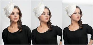 Frisur und bilden - schönes Kunstporträt des jungen Mädchens Netter Brunette mit weißer Kappe und Schleier, Atelieraufnahme Attra Stockbild