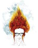 Frisurenskizze Indie Mädchen mit dem langen brennenden Haar lizenzfreie abbildung