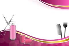 Frisurnfriseurwerkzeuge des Hintergrundes bürsten rote Lockenwicklerscheren der abstrakten rosa Goldband-Rahmenillustration Lizenzfreie Stockfotografie