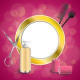 Frisurnfriseurwerkzeuge des Hintergrundes bürsten rote Lockenwicklerscheren der abstrakten rosa Goldkreis-Rahmenillustration Stockbilder