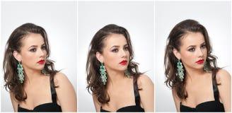 Frisyr och smink - härlig kvinnlig konststående med örhängen elegans Äkta naturlig brunett med smycken royaltyfri fotografi