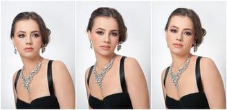 Frisyr och smink - härlig kvinnlig konststående med härliga ögon elegans Äkta naturlig brunett med smycken royaltyfri fotografi