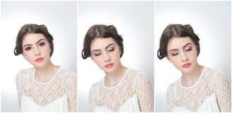 Frisyr och smink - härlig ung flickakonststående med stängda ögon Äkta naturlig brunett, studioskott Fotografering för Bildbyråer