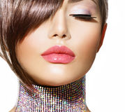 Frisyr. Skönhetmodell Girl Fotografering för Bildbyråer