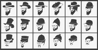 Frisyrer med bära för skägg och för mustasch stock illustrationer