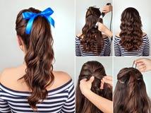 Frisyrponnysvans på orubbligt lockigt hår fotografering för bildbyråer