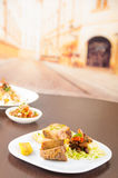 Fritada油煎了猪肉传统厄瓜多尔食物 免版税图库摄影