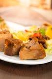 Fritada油煎了猪肉传统厄瓜多尔食物 免版税库存照片