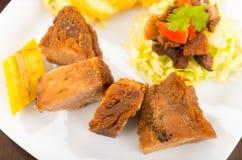 Fritada油煎了猪肉传统厄瓜多尔食物 库存图片