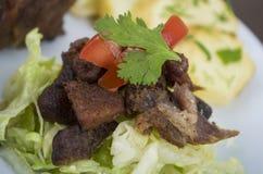 Fritada油煎了猪肉厄瓜多尔人板材 免版税库存图片