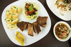 Fritada油煎了从厄瓜多尔的猪肉传统食物 免版税图库摄影