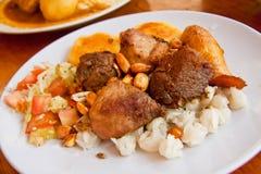 Fritada,油煎的猪肉,典型的厄瓜多尔盘 库存图片