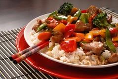 Fritada asiática do stir da carne de porco Imagens de Stock