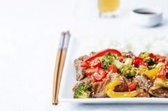 Fritada da agitação da carne dos brócolis da pimenta Fotos de Stock Royalty Free