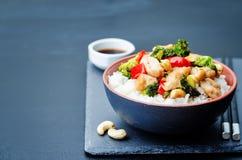 Fritada da agitação da galinha do caju dos brócolis da pimenta vermelha com arroz Imagens de Stock Royalty Free