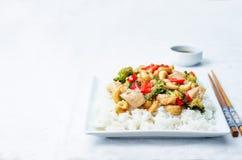 Fritada da agitação da galinha do caju dos brócolis da pimenta vermelha com arroz Foto de Stock