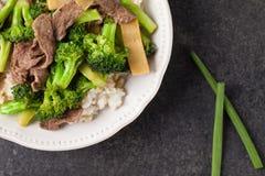 Fritada da agitação dos brócolis de N' da carne acima do tiro Imagem de Stock Royalty Free