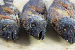 Fritada del cuerpo de 3 pescados en la madera que taja Imagen de archivo libre de regalías