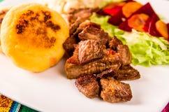 Fritada, fried pork, traditional ecuatorian dish. Royalty Free Stock Image