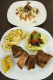 Fritada with mote con chicharron fried pork hominy Stock Photography