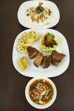 Fritada with mote con chicharron fried pork hominy Stock Images