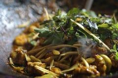 Fritada tailandesa da agitação em um frigideira chinesa Imagem de Stock