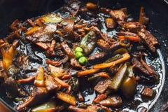 Fritada, vegetais e carne da agitação Imagens de Stock Royalty Free