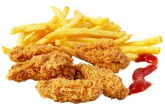 Fritadas da galinha e do francês Fotografia de Stock Royalty Free