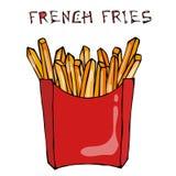 Fritadas do francês na caixa de papel Fried Potato Fast Food em um pacote vermelho Ilustração do vetor isolada em um fundo branco Fotografia de Stock