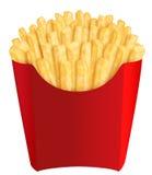 Fritadas do francês no empacotamento vermelho imagens de stock royalty free