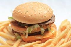 Fritadas do Hamburger e do francês Fotos de Stock