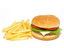 Fritadas do Hamburger e do francês Imagem de Stock Royalty Free