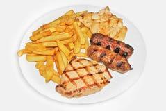 Fritadas e carne Imagem de Stock Royalty Free