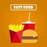 Fritadas, Hamburger e soda em um fundo alaranjado Fast food ilustração do vetor