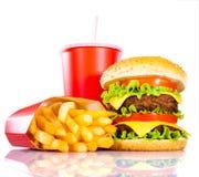 Fritadas saborosos do Hamburger e do francês Fotografia de Stock