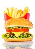 Fritadas saborosos do Hamburger e do francês fotos de stock