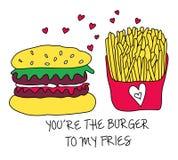 Fritadas y hamburguesa Fotografía de archivo libre de regalías
