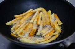 Fritando batatas em uma bandeja Foto de Stock Royalty Free