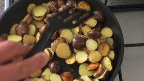 Fritando batatas em uma bandeja video estoque